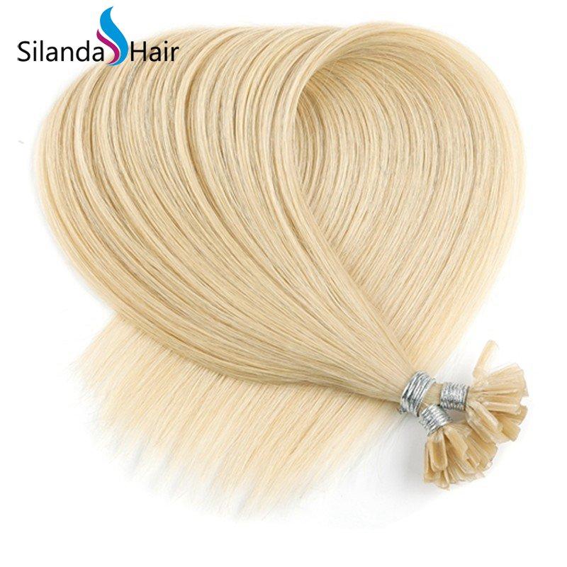 Silanda Hair #22 Straight Remy Nail Tip U Tip Keratin Human Hair Extensions