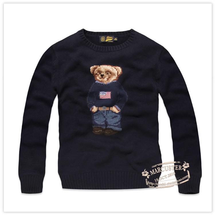 Áo thun nam mùa thu RTW Áo len cổ tròn có họa tiết gấu dệt kim RTMM73616 - Kéo qua