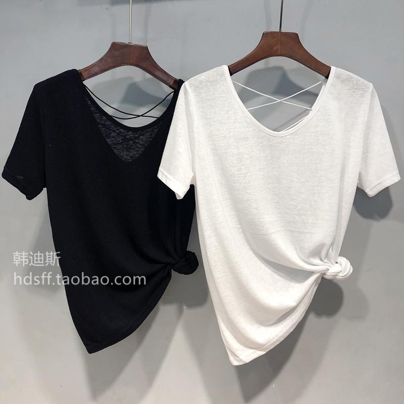 2020短袖韩国ulzzang新款宽松显瘦百搭后v短袖夏装美背带子T恤女潮