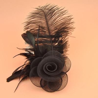 Bohemian feather hairpin three-dimensional mesh screen flower brooch brooch flower headdress performance accessories Wedding Party Hats