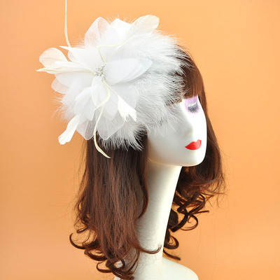 Wedding Hat Hair Card Feather Flowers Headdress Hair Pin Accessories