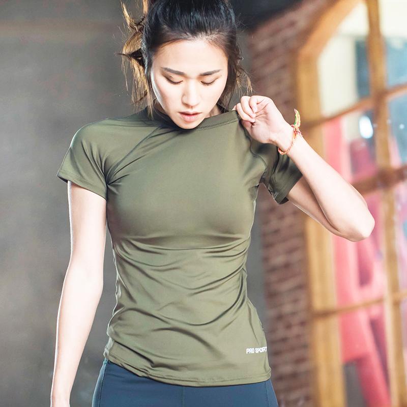 На основе фитнес плотно T футболки высокая эластичность плотно одежда тренер одежда бег быстросохнущие одежда движение короткий рукав йога