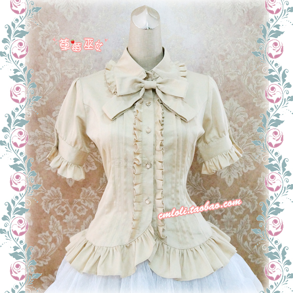 42agent [Strawberry Witch] LOLITA Lolita Pleated Pleated Doll Lapel Short Sleeve Shirt Cotton Can Change Chiffon - Taobao