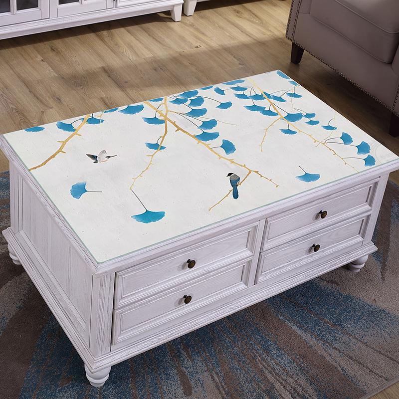 复古风景茶几桌布防水防烫防油pvc中式长方形客厅家用塑料餐桌垫
