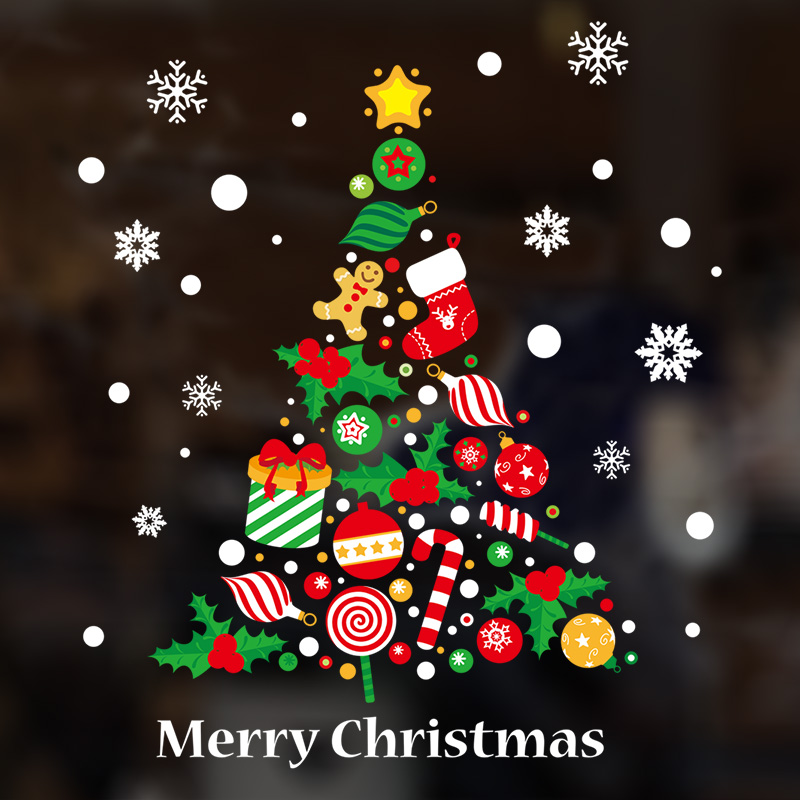 mall shop window glass door stickers santa tree wallpaper stickers new year christmas decorations wall stickers