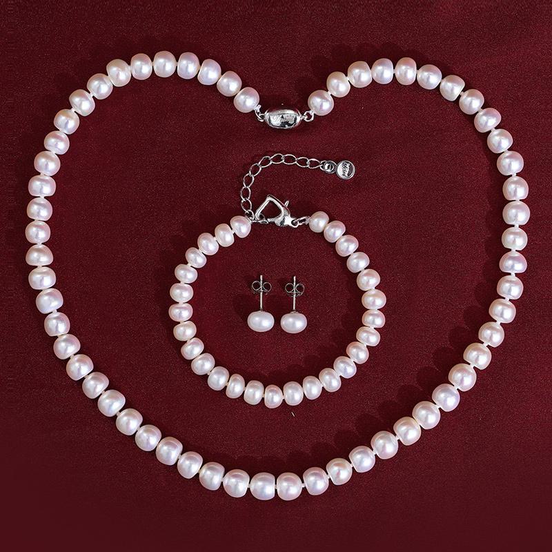 黛米珍语淡水强光白色珍珠项链套装送妈妈婆婆款正品女母亲节礼物