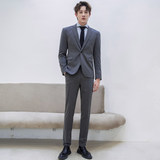 CSOCSO Spring and Autumn Men's Han Feng Casual Gray Small Suit Set Trend Handsome Light Business Slim Strun