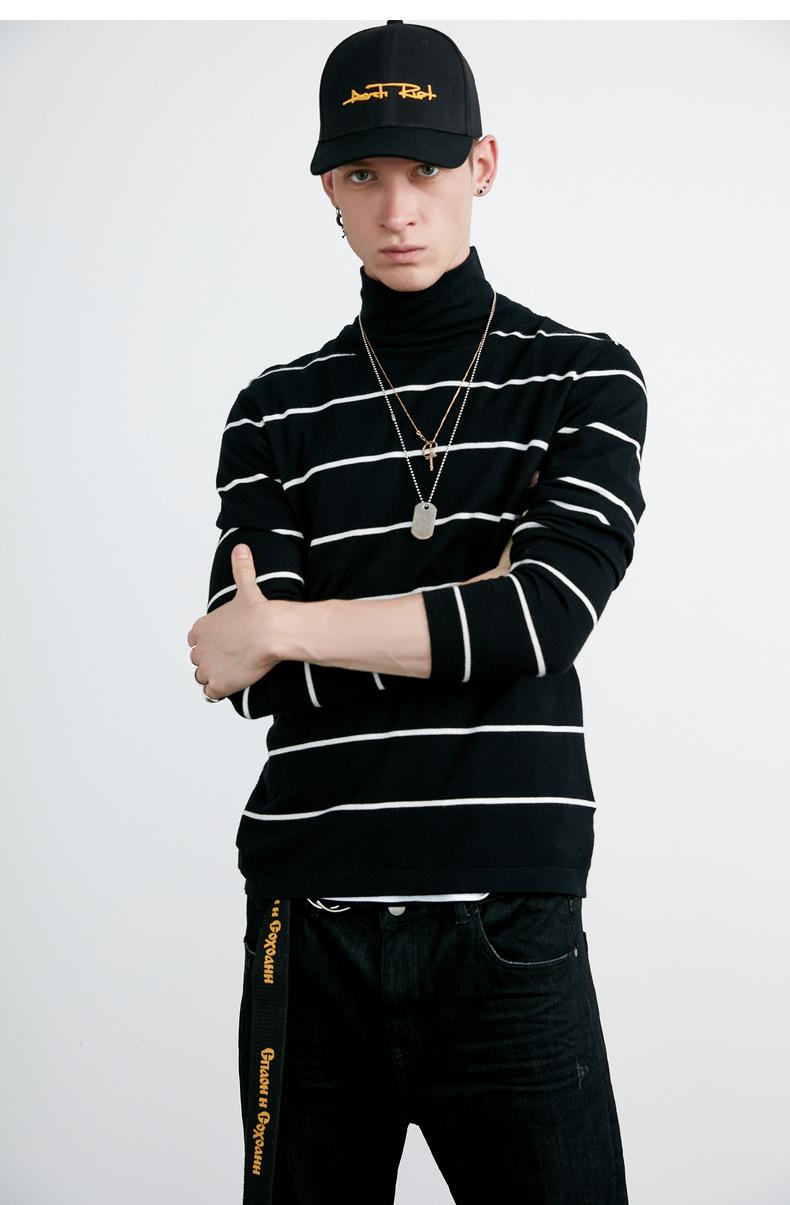Lilbetter nam cao cổ áo len Hàn Quốc Slim cao cổ áo len sọc đẹp trai người Anh áo sơ mi nam