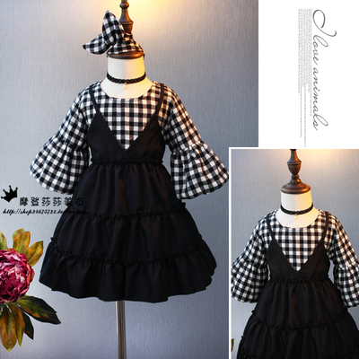 2017 autumn and winter Korean version of the children's clothing girls fake 2 piece dress autumn and winter children's trumpet sleeve style plaid skirt plus cashmere