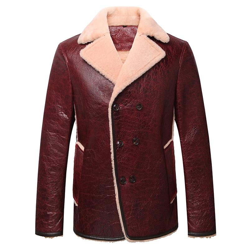 男士秋冬真皮羊羔毛绵羊皮修身深棕色皮衣