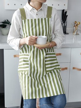 Japanese small fresh wave point stripe cotton linen strap style home gardening aprons Baking antifouling