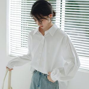 9606#(YOKE實拍)秋季新款 簡約韓系泡泡袖白色襯衫襯...