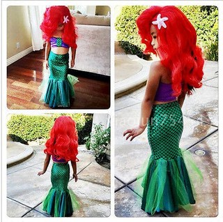 Girls mermaid tail skirt swimsuit three sets in children split the baby princess mermaid costume show