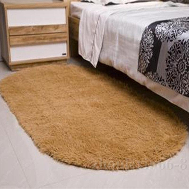 Oval Plush Fluffy Area Mat Living Room Bedroom Floor