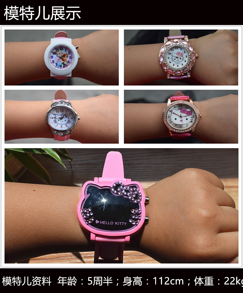 Novelty & Special Use Animation Hello Kitty Magnifier Clock Wrist Hello Kitty Pink Gemstone With Diamonds Watches Children Electronic Watch Cosplay Soft And Light Costume Props