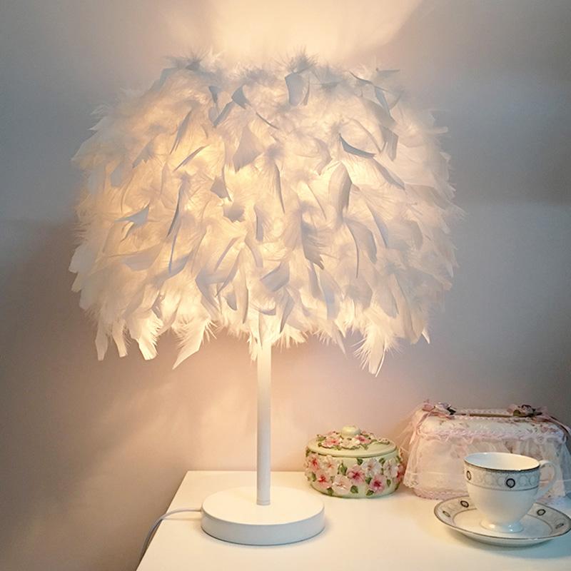 欧式时尚网红羽毛客厅v时尚庆装饰暖光白色床头台灯创意灯饰小卧室