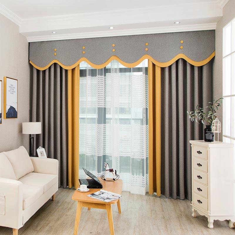 定制灰色成品窗帘简约现代纯色全遮光布料北欧风拼接客厅卧室布帘