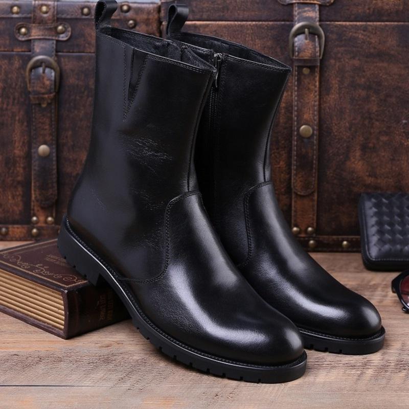 冬季加绒男士中筒靴真皮英伦男靴子军靴高帮休闲男皮靴潮流马丁靴
