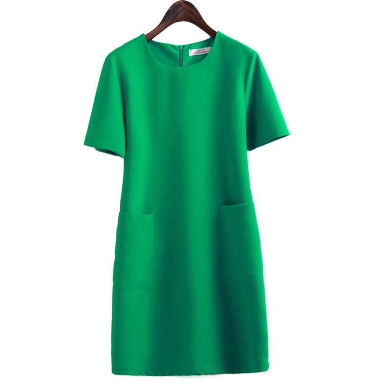 夏季大码连衣裙女2020新款直筒韩版时尚中裙裙子宽松显示绿色气质