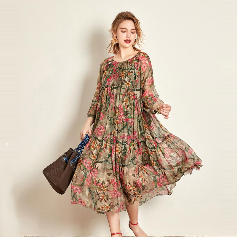 欧洲站2019夏季新款真丝连衣裙两件套乔其纱桑蚕丝度假裙中长款女