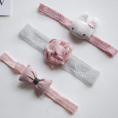 可爱公主手工粉红发带礼盒婴儿头饰