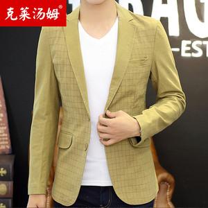 西服男秋季纯棉西装时尚修身单西外套青年休闲小西服两粒扣小西装