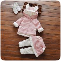 Зимнюю одежду нового мужской девочки установите младенец младенец детский плюс утолщённый два рукава девушка милый теплую одежду одежда волна