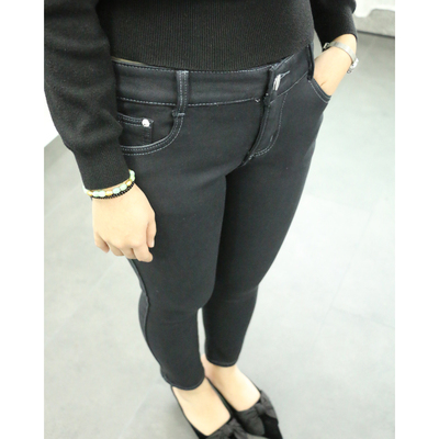 170A1A Women's stretch plus cashmere feet nine jeans winter female Weihuo