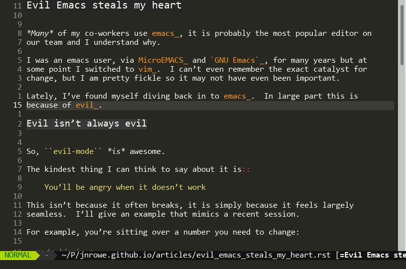 Evil Emacs steal my heart