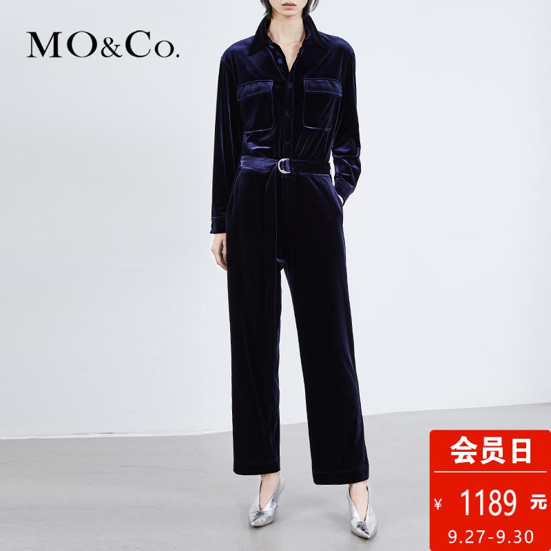 MOCO2018春季新品絲絨長袖束腰工裝連體褲女MA181JPS202 摩安珂