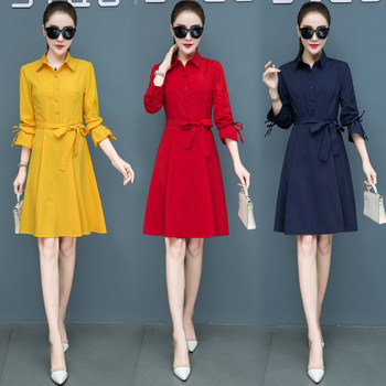 Autumn 2019 spring and autumn and winter women's WTA red autumn yellow red dress popular long-sleeved dress tide