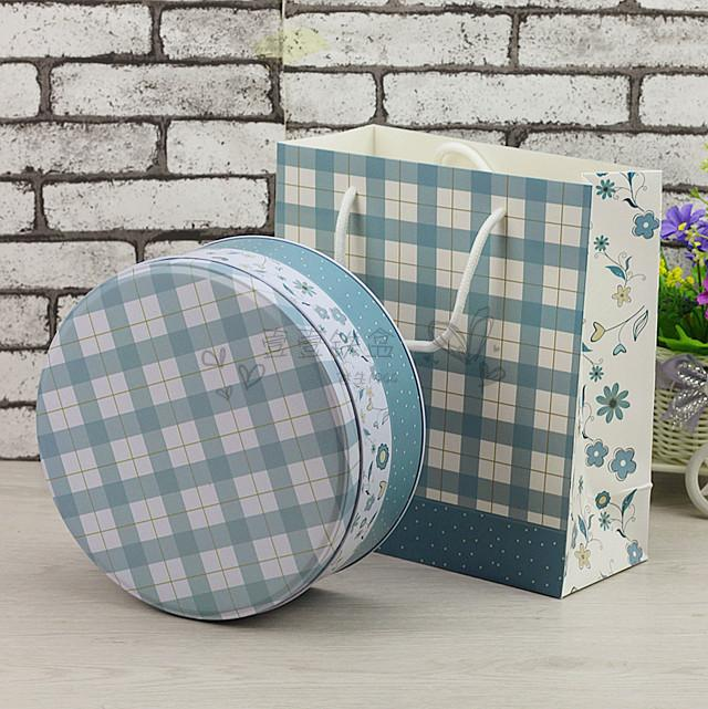 4个包邮8寸蛋糕盒千层盒大号圆形铁盒曲奇饼干罐烘培包装伴手铁盒