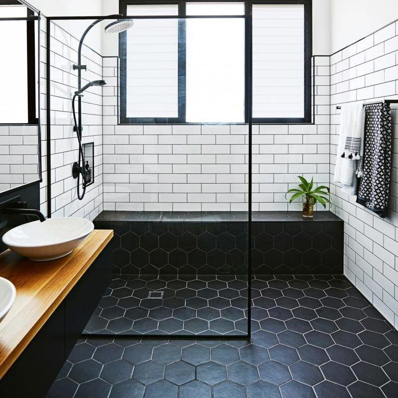 Nordic Bathroom Hexagonal Brick Kitchen Non Slip White 6 Corner Brick IKEA Tile  Floor Tile Bathroom Hexagonal Wall Tile