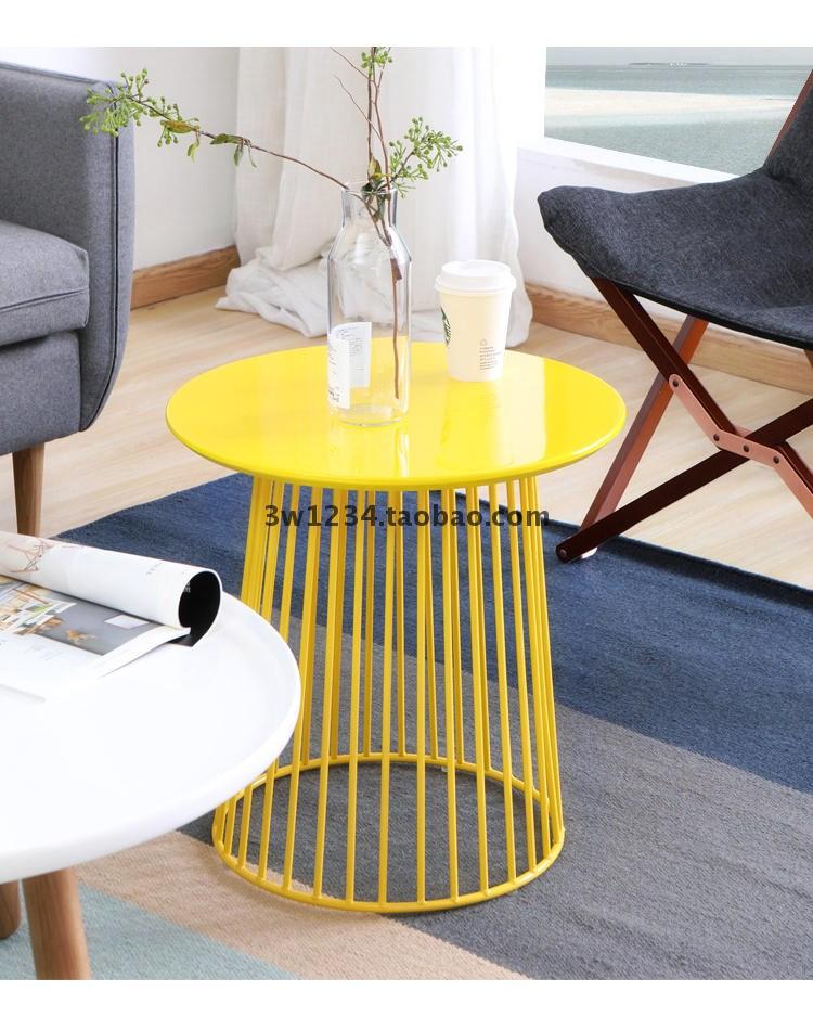 简约铁艺边几圆形彩色小茶几现代时尚边角几电话桌小圆桌儿童桌子