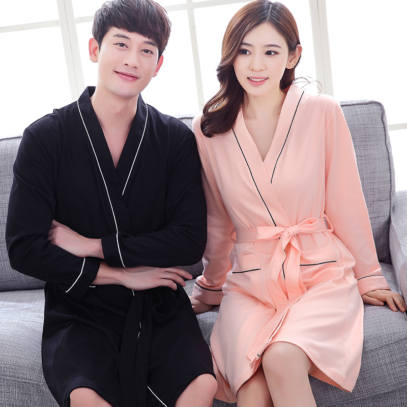 0e20ee0cfd Nightgown female Summer couple pajamas cotton sexy thin section bathrobe  summer men short section long-sleeved spring and autumn bathrobe