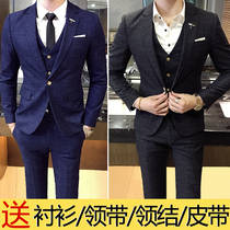 Plaid suit suit male three-piece suit self-cultivation groom clothing wedding dress