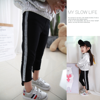 Xixi home children's wear girls pants 2017 new Sequin Ribbon kindergarten children feet pants Leggings