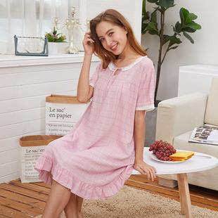 可爱棉绸睡裙女夏甜美人造棉睡裙