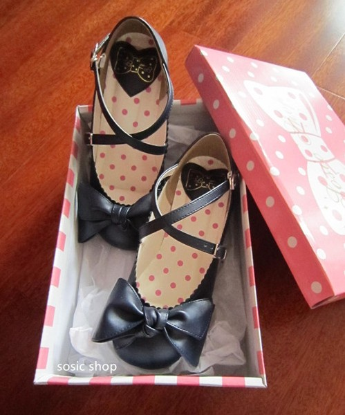 TaobaoRing lolita Japanese sweet cute bow flat doll strap round head cool single shoes student - Taobao