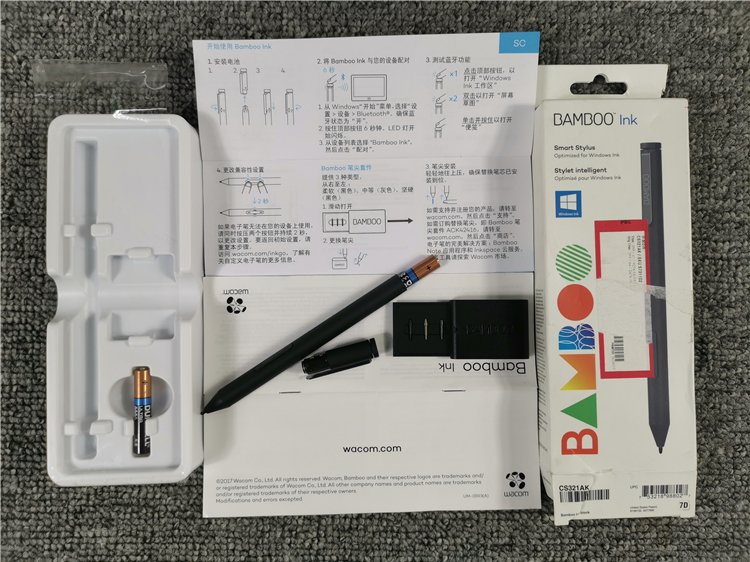 新款WACOM微軟原裝BAMBOO INK手寫筆4096壓感CS321AK SURFACE CS321A