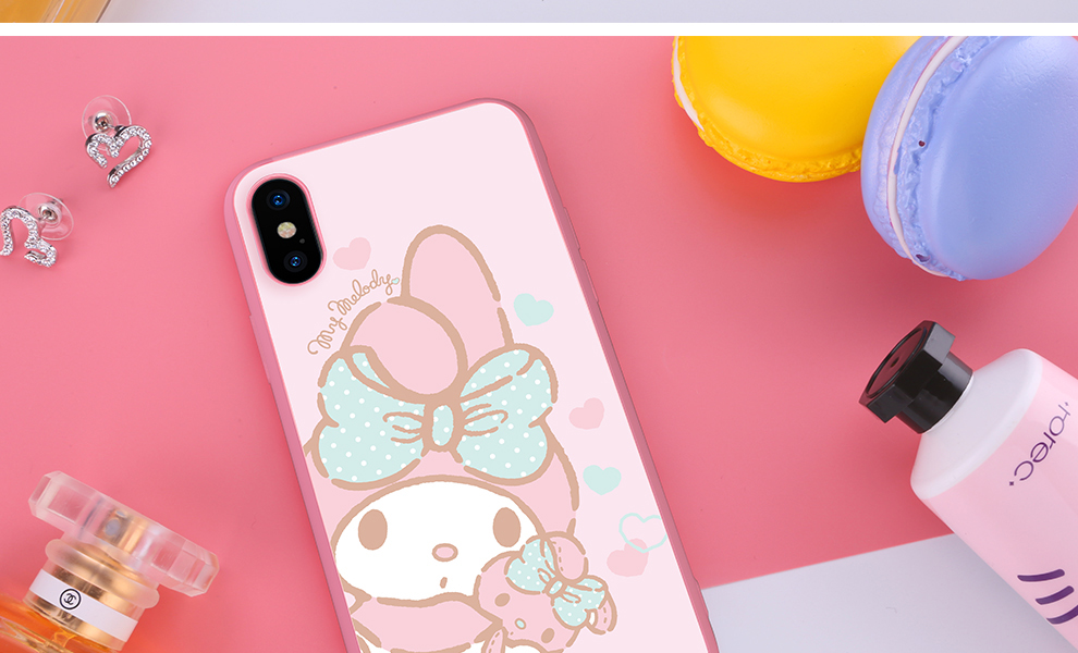 X-Doria Hello Kitty & My Melody & Little Twin Stars Tempered Glass Back Case Cover for Apple iPhone X