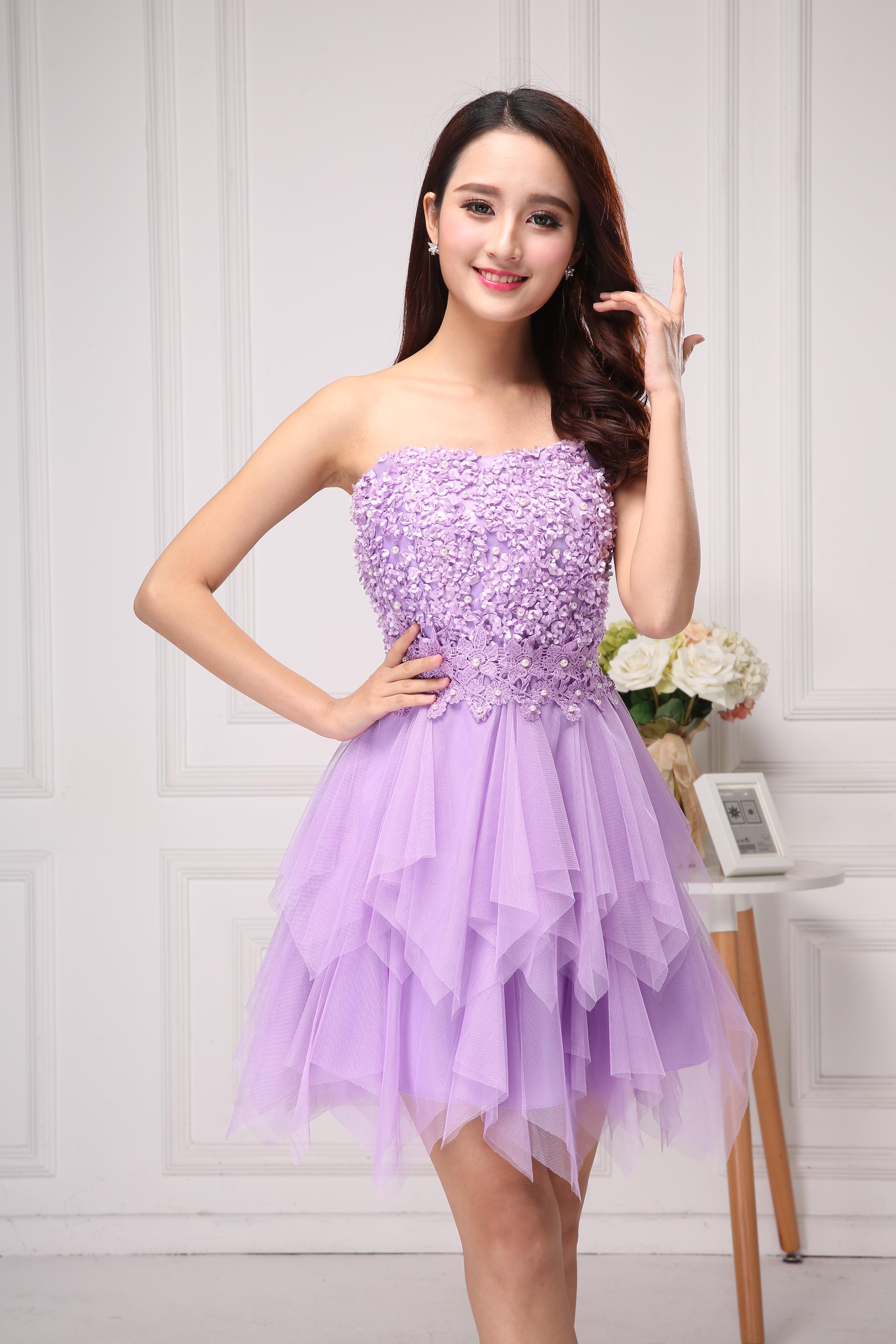 礼服晚礼服伴娘抹胸时尚修身a礼服公主服短款小礼宴会裙女