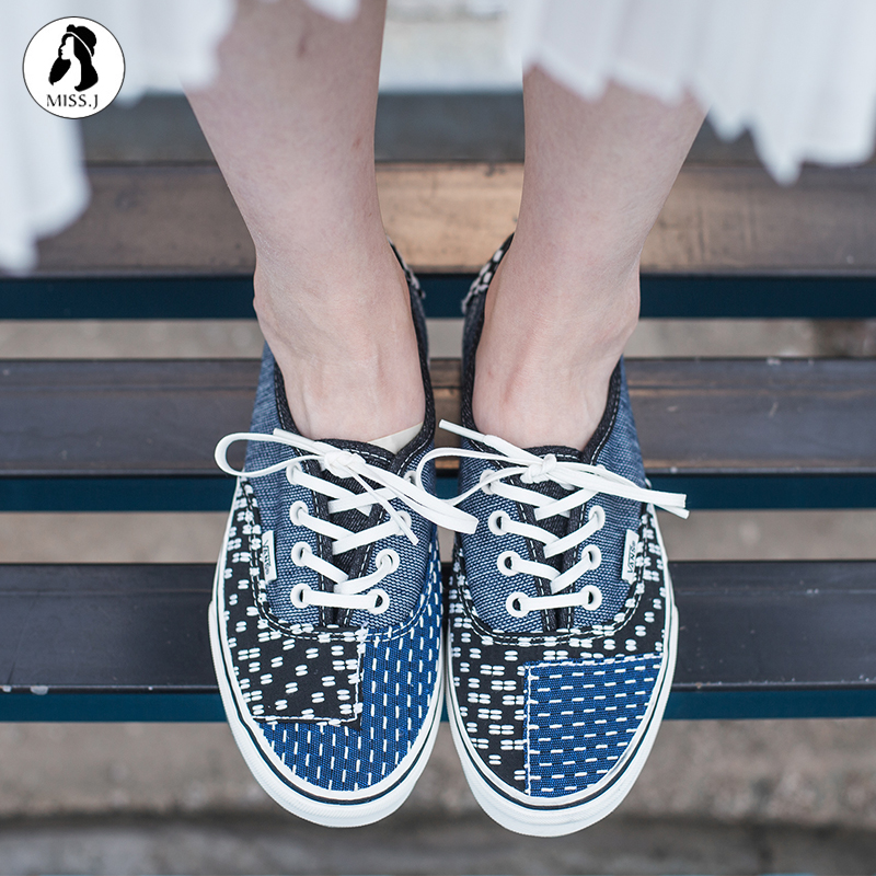 ... King  VANS PATCHWORK blue color matching couple casual shoes VN0A38EMQ9H 0f2427ed3
