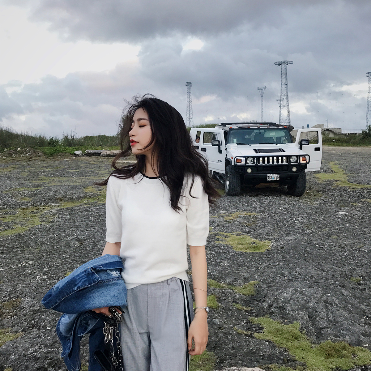 2018 рано весна новая девушка наряд с коротким рукавом куртка корейский моды досуг чистый красный вязание короткий рукав T футболки женщина весна