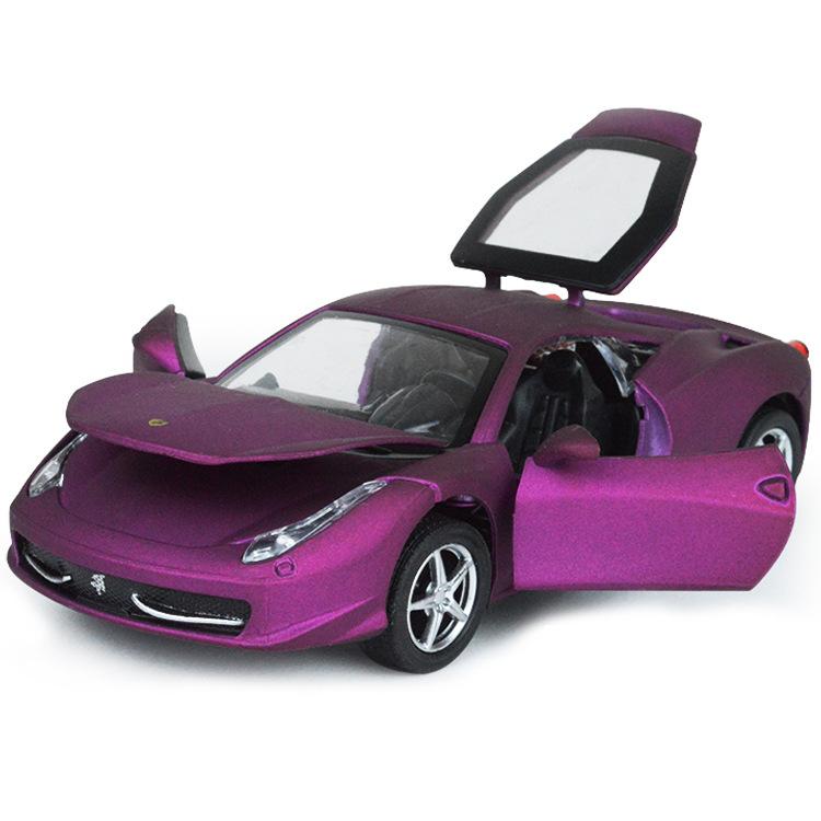 包邮仿真458紫色合金汽车回力灯光音乐开门白红色儿童玩具跑车
