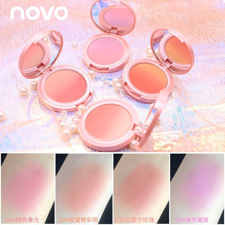 NOVO sweet pink gradient blush nude makeup natural two-color blush plate sebum beauty makeup shake tone with J12L17