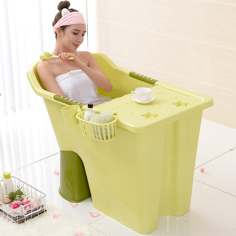 Oversized Hard Plastic Adult Bath Tub Sitting Bath Bath Tub Wood Bath Tub  Bathtub Household Bath