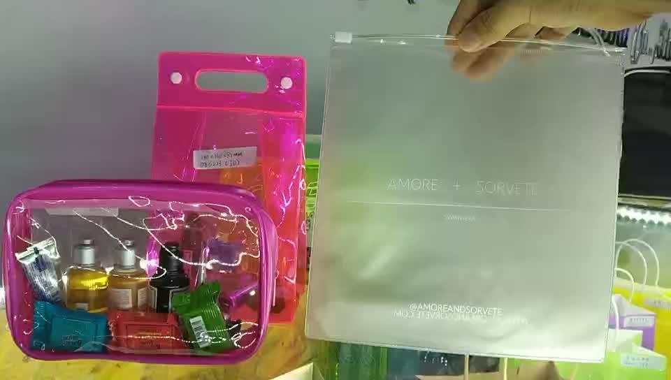 Custom printed clothing pvc packaging bag,pvc frosted plastic zipper bag with matte pvc slider clothing zipper bag