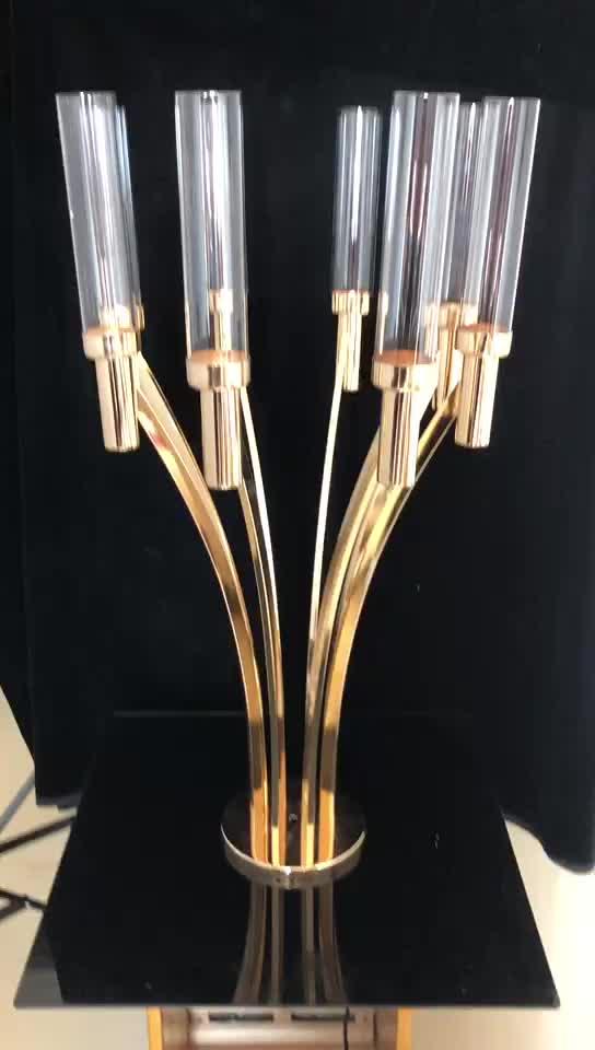 latest 8 arms wedding decoration metal candelabra centerpieces wholesale goldene Candelabro