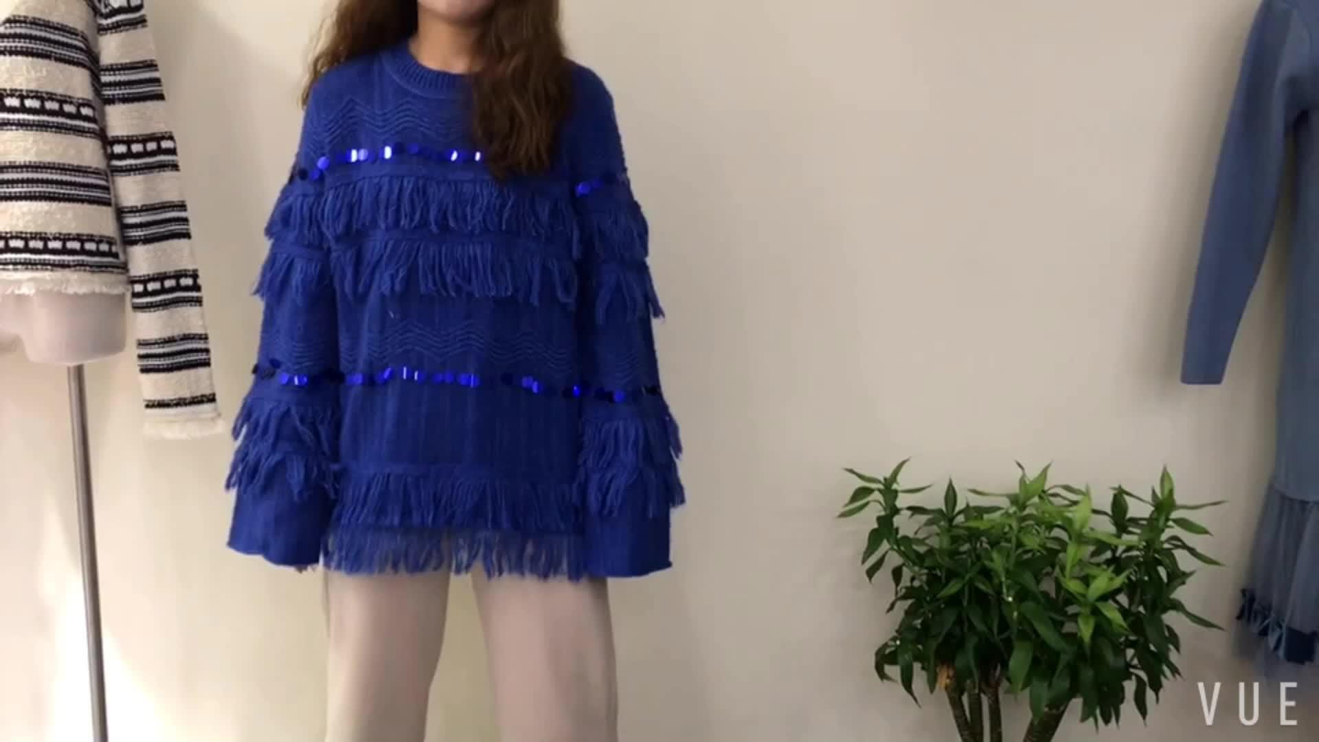 Borla lentejuelas larga manga de moda suave Jersey suéter elegante
